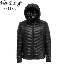 NewBang 8XL 9XL 10XL 11XL Duck Down Jacket Men Autumn Winter Jacket Men Hooded Waterproof Down Jackets Male Warm Down Coat cheap STANDARD Z161029YR01 28 REGULAR Casual zipper Broadcloth NYLON White duck down Full Solid NONE Zippers Polyester 100g-150g