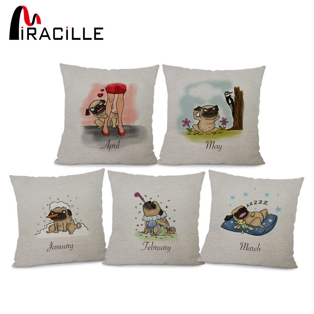 Miracille Cartoon Pug Dog with Month Pattern Bedroom Pillows Cotton Linen Waist Throw Cushions Home Suppliers No Core