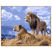 PHKV Prairie Lion Animal Picture DIY Framed Oil Painting By Numbers Flowers Pictures Canvas Painting For