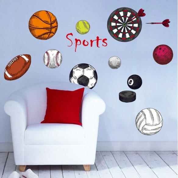 DSU Soccer Ball club Football sport Frisbee Rugby wall sticker kindergarten for boy kids room Home Decoration Home Decor bedroom