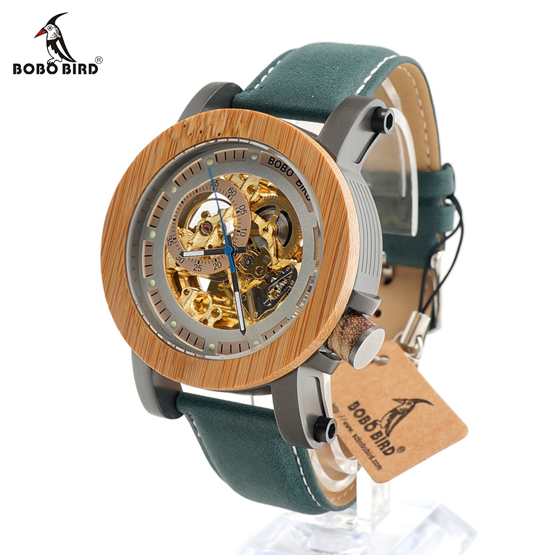 BOBO BIRD Top Brand Luxury Automatic mechanical Casual Watch Mens Skeleton Bamboo Wooden With Steeling In Wooden Gift Box bobo bird mens watches top brand luxury ebony wooden watch with japan movement in gift box relojes mujer 2017