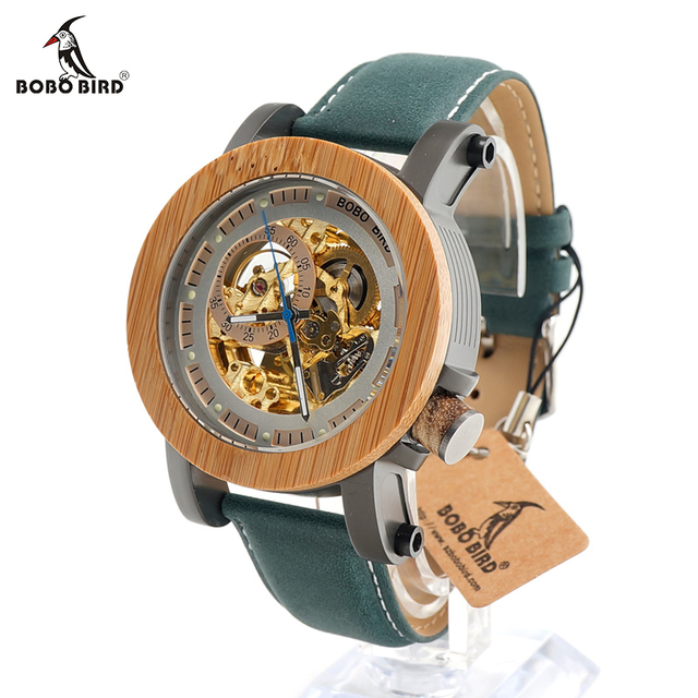 BOBO BIRD Top Brand Luxury Automatic mechanical Casual Watch Mens Skeleton Bamboo Wooden With Steeling In Wooden Gift Box