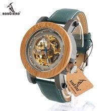 BOBO UCCELLO Top Brand di Lusso Automatico meccanico Casual Watch Mens di Scheletro di Legno di Bambù Con Zenit In Contenitore di Regalo di Legno