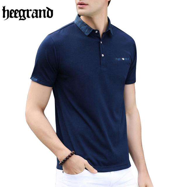 Hee grand 2017 hombres camisa de polo de negocios y casual sólido camisa transpirable de manga corta camisa de polo masculino de polo mtp401
