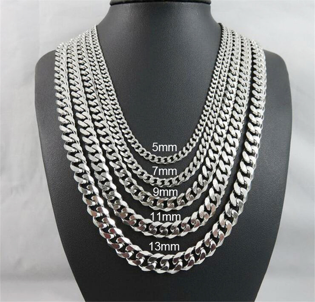 33c5b9880c2 5/7/9mm Mens Necklace Curb Cuban Link Gold Silver Black Tone Stainless  Steel Necklace Chain Hip Hop Jewelry Length 55cm