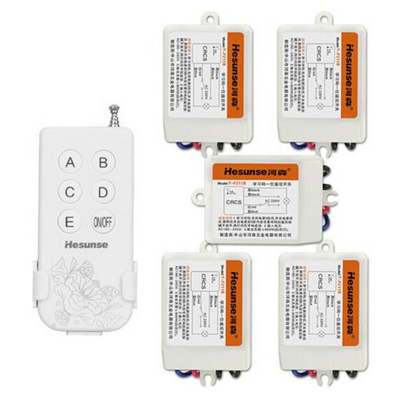Meilleur prix 315 mhz 5CH sans fil interrupteur de lumière 220 V 110 V numérique télécommande commutateur contrôle 5 pièces même temps Code d'apprentissage