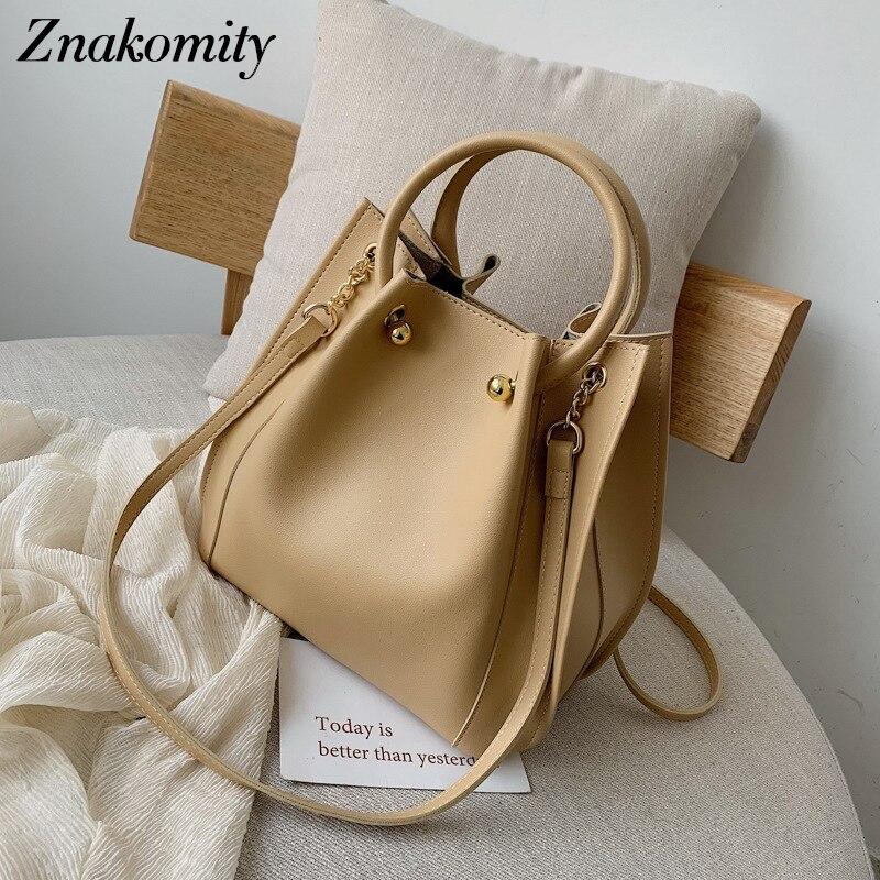 Znakomity Luxury Large Women Purses and Handbag Bucket Female Shoulder Bag Fashion Solid PU Leather Crossbody for 2019