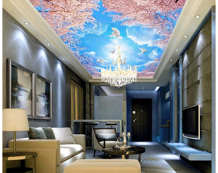 3d wallpaper custom photo non-woven mural wall sticker blue sky white clouds sakura tree ceiling mural 3d room murals wallpaper mural wallpaper 3d home decoration cherry trees 3d wallpaper living room ceiling non woven wallpaper ceiling