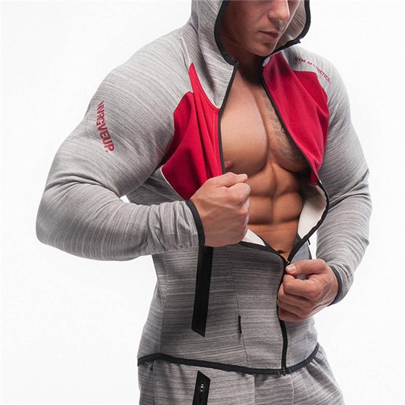 Men Gym Hoodies Zipper Sweatshirt Workout Training Male Running Sport Jackets Fitness Bodybuilding Spring Autumn Outdoor Coats