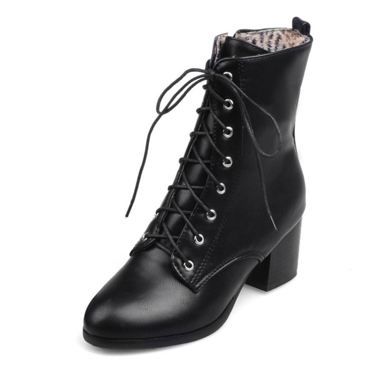 2018 New Fashion sexy women's ankle boots lace up high heels Punk platform Women autumn winter snow boots ladies shoes apoepo punk style silver mirror boots women lace up platform high heels shoes women boots sexy nightclub singer short boots