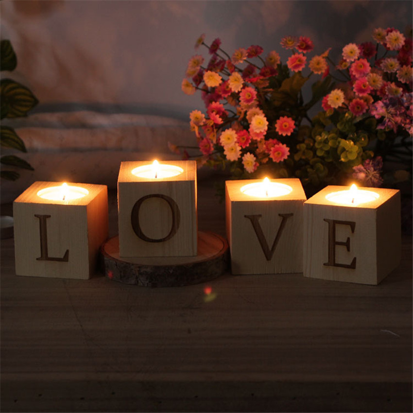 Vintage wooden love tea light candle holder set votive