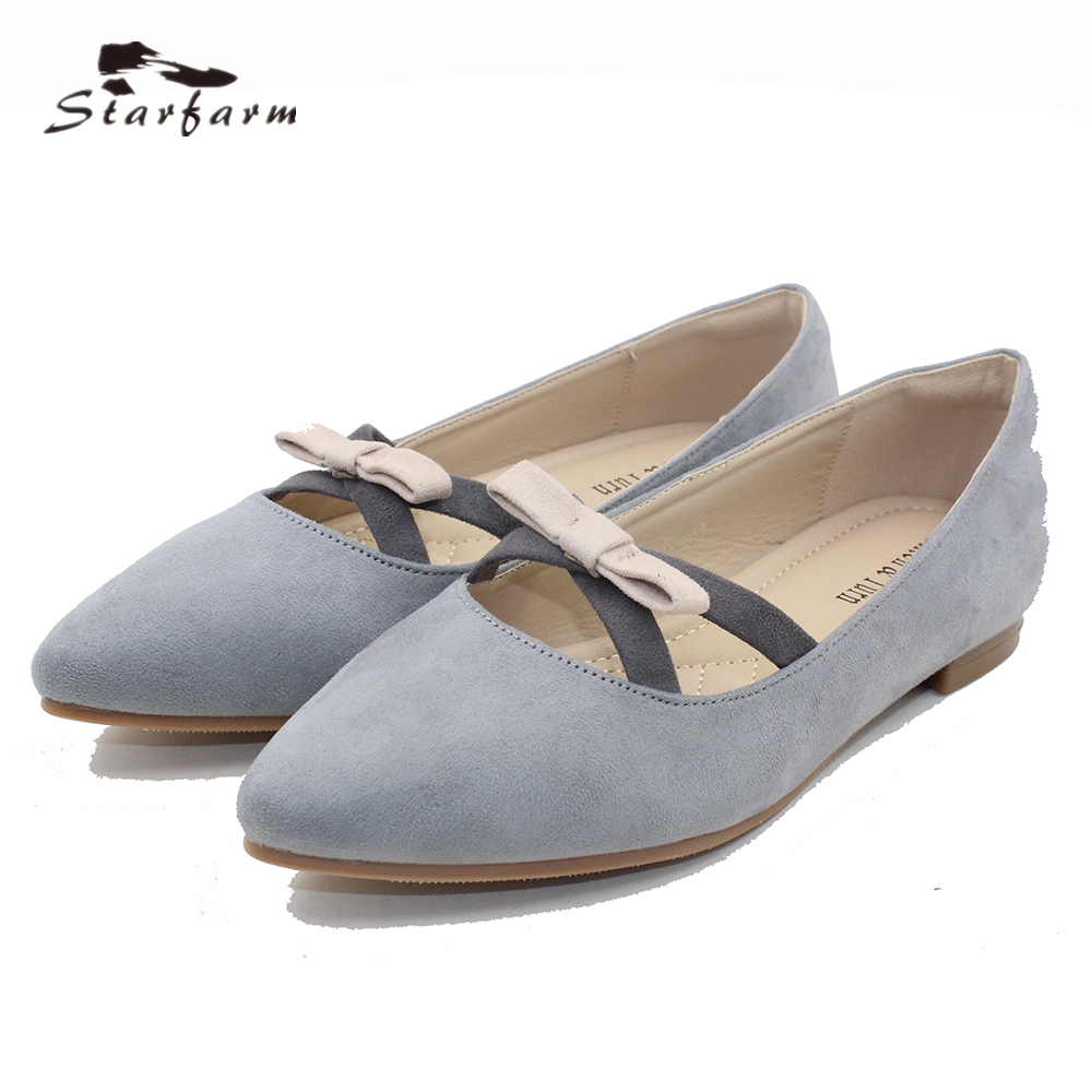 STARFARM Women's Classic Ballet Flat Weave Mules Shoes Pointy Toe Leather Comfort Slip On Flats Causal Shoes in pink grey blue