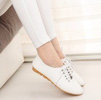 Women Black White Lace Up Oxfords Flats 2015 Casual Wedding PU Leather Shoes Ladies Party Oxford