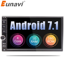 "Eunavi Universal 2 din Quad core 7"" Android 7.1 Car Radio Stereo multimedia Player GPS Navigation with USB WIFI SWC FREE MAP"