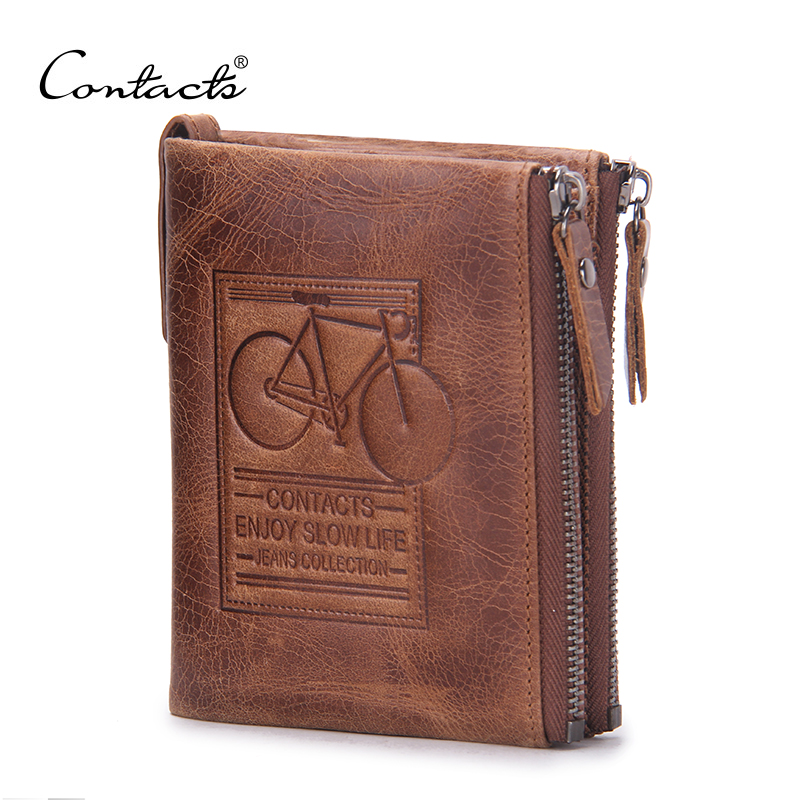 CONTACT'S Brand Men Wallets Dollar Price Genuine Crazy Horse Cowhide Leather Male Purse With Coin Bags Card Holder Mini Wallet