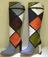 New Mixed Color Leather Grid Patchwork Rivet Studs Straps Knee high Boots Chunky High Heels Slip On Shoes Women Multi Botas