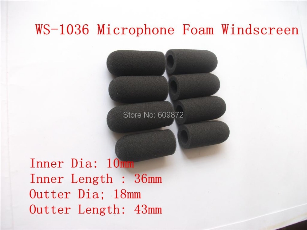 Microphone Windscreen Foam Cover, WS-1036,Sponge windshield , 10mm opening and 36mm inner length ,10 pcs / lot, Singapore Post