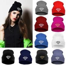 Новая зимняя женская шапка, мужские шапочки, алмазные вязаные теплые шапки в стиле хип-хоп, шерстяные шапки, женские шапки Skullies Beanies унисекс
