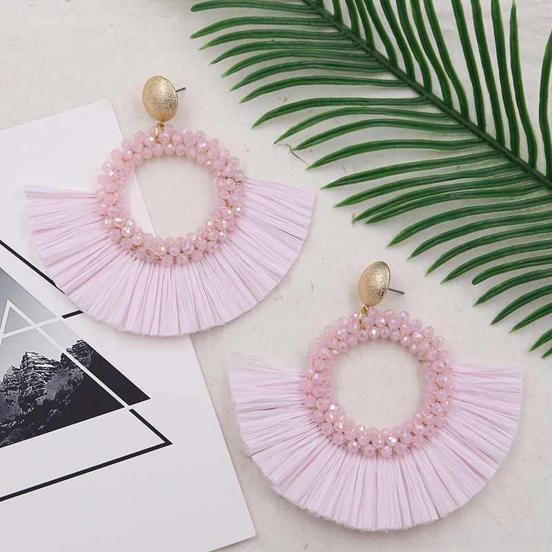STRATHSPEY Bohemia Handmade Fan-shaped Tassel Earrings Ethnic Vintage Beads Fringe Drop Earring For Women Statement Jewelry