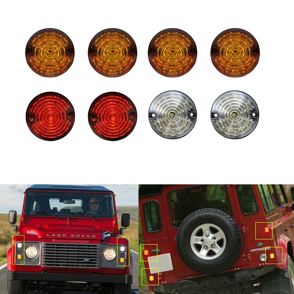8PCS For Land Rover Defender 4 Yellow 2 Clear 2 Red LED Rear Fog Lamp Reversing