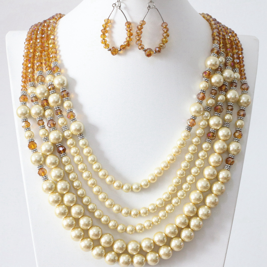 Champagne simulated-pearl shell glass beads high quality 5 rows necklace earrings for weddings party gifts jewelry set B983-18