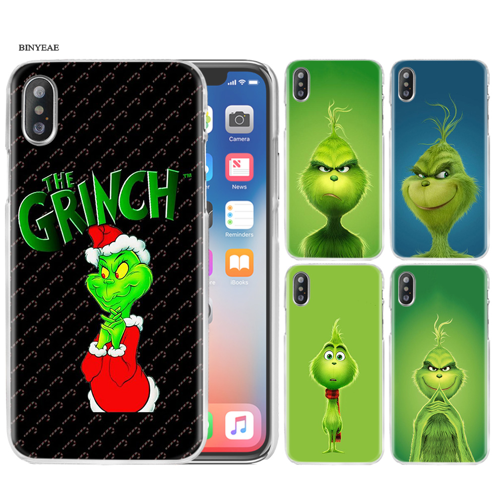 Green Grinch Christ Hard PC Plastic Phone Case Cover Clear for iPhone XS Max XR 7 8 6 6s Plus X 5 5s SE 5C 4 4S Funda Coque Capa