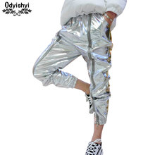 odyishyi 2019 Autumn Women Wild Casual Zipper Loose Bright Silver Harem Pants