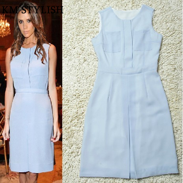 84b9139c0cd0  SALE  New summer 2018 fashion star Beckhams Victoria Slim O-neck Blue  Chiffon Dress Sleeveless
