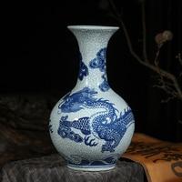 Jingdezhen Ceramic Vase Room Flower Arrangement Cracked Blue and White Dragon Antique Flower Classical Chinese Home Decoration