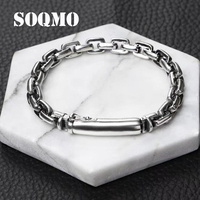SOQMO Popular star verse clasp birthday gift 925 sterling silver bracelet bangle for women and men loom bands silver 925 jewelry