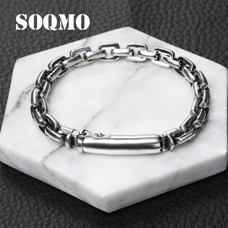 SOQMO Popular star verse clasp birthday gift 925 sterling silver bracelet bangle for women and men loom bands silver 925 jewelry france popular jewelry 925 sterling silver handcuffs bracelet for men women with rope zircon silver pendant bracelet menottes