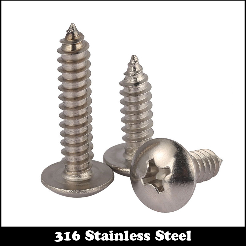 5pcs M6 50mm M6*50mm M6X50 316 SS Stainless steel Mushroom Head STTP Screw Self-Tapping Screw Truss Phil Screws 10pcs m6 16mm m6 16mm 316 ss stainless steel mushroom head sttp screw self tapping screw truss phil screws
