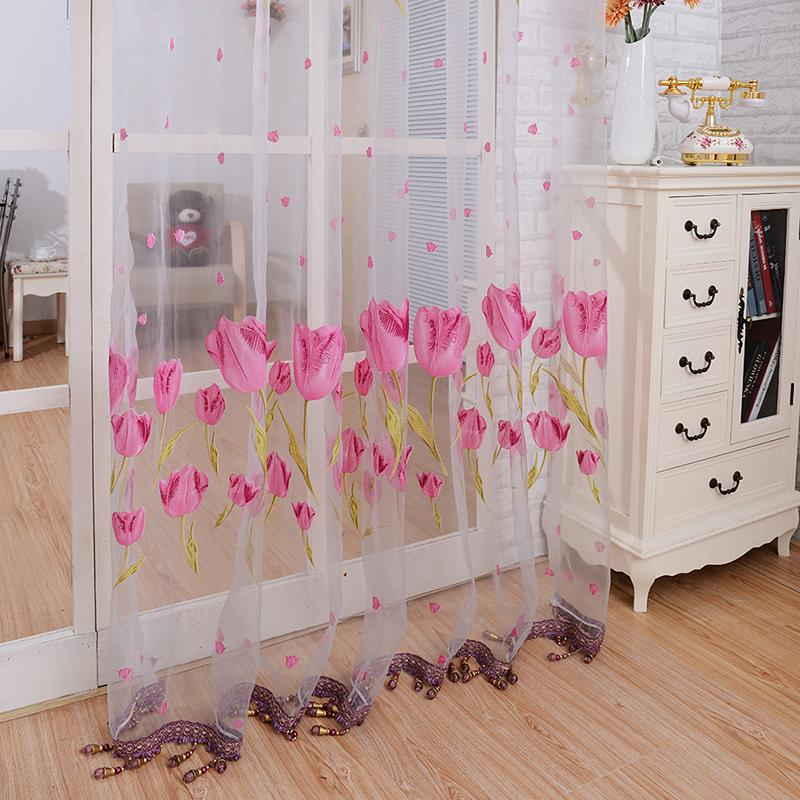 Hot Sales Window Curtain Pastoral Sheer Panel Scarf Tulip Flower Voile Door Room Divider