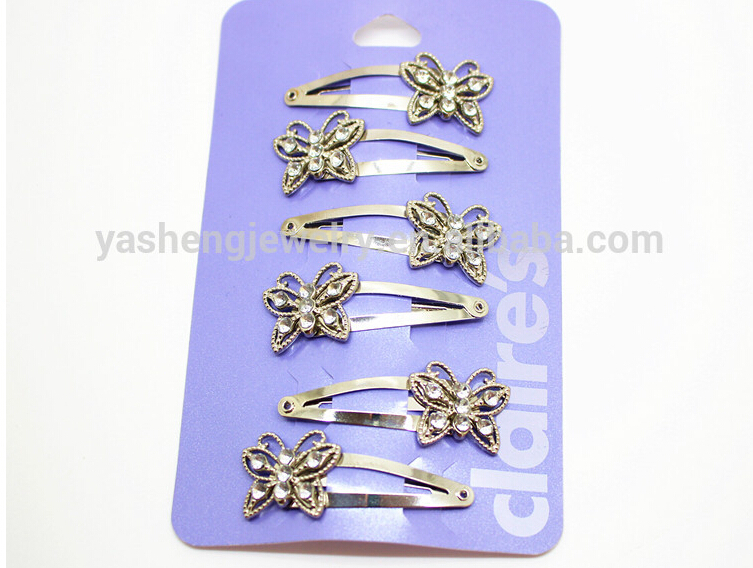 Wholesales 6pcs/lot fashion hair accessories bright silver butterfly with rhinetone hairpins and metal hair snap clips Hairgrips retro vintage women ladies girls hair clips crystal butterfly bowknot hairpins hair accessories