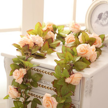 Silk Artificial Flowers Rose 2PCS Fake Flowers Vine with Green Leaves for Weeding Home Garden Decor(China)