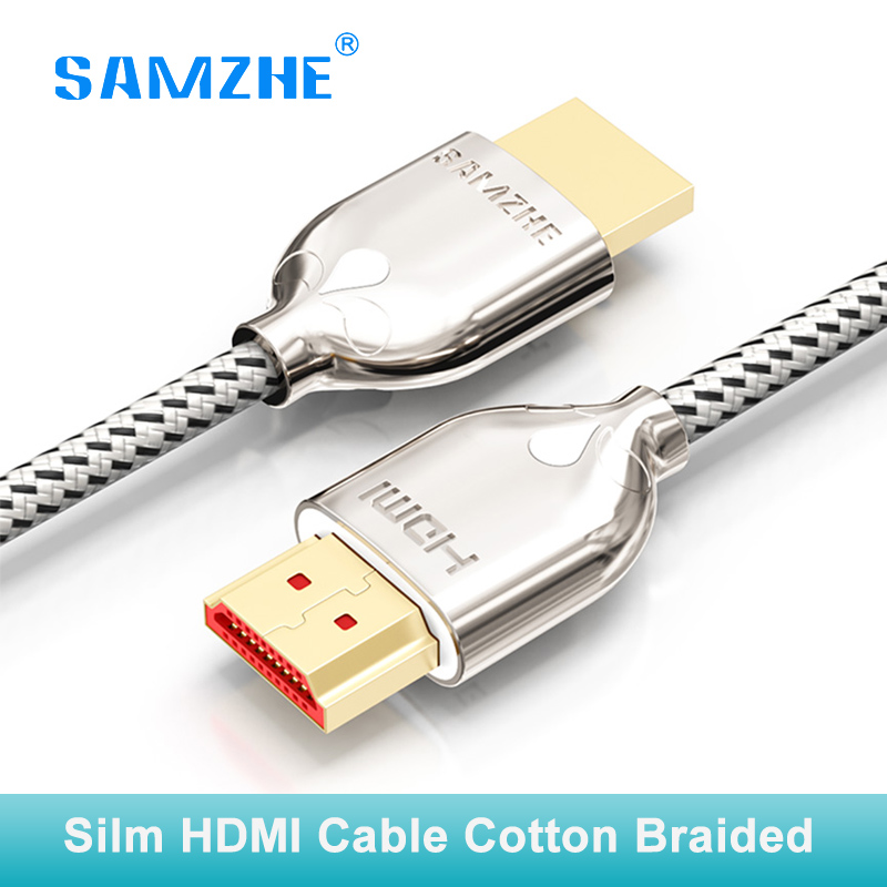 SAMZHE Cotton braided soft silm HDMI cable 4k*2k 60hz hdmi to hdmi 2.0 3D 1M 1.5M 2M 3M for PS4 xbox Projector HD TV box Laptop