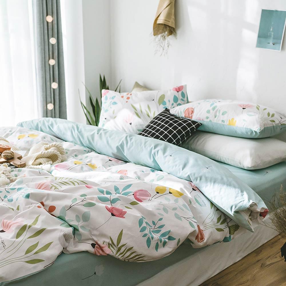 Svetanya ดอกไม้พิมพ์ชุดเครื่องนอนผ้าฝ้าย 100 ผ้าปูที่นอนเดี่ยว Queen King size (ผ้านวมผ้านวม + แผ่น + ปลอกหมอน)-ใน ชุดเครื่องนอน จาก บ้านและสวน บน   3