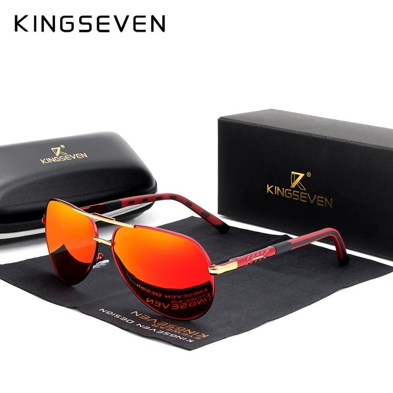 KINGSEVEN 2019 Aluminum Magnesium Men's Sunglasses Polarized Men Coating Mirror Glasses Male Eyewear Accessories For Men Oculos