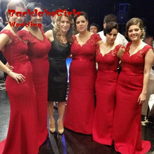 Bridesmaid Dress 2017 Chiffon Red V-neck Mermaid Floor length Long Custom Made Bridesmaids Prom Gown Wedding Party Dresses