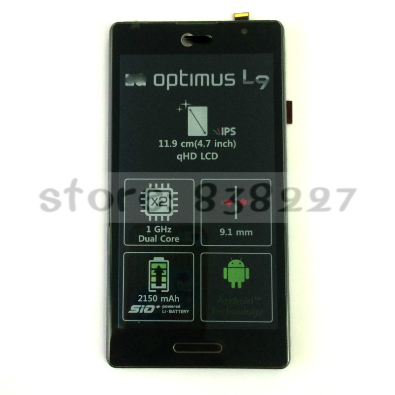 For LG Optimus L9 Swift L9 P760 LCD Display Touch Screen Digitizer Frame Assembly 2pcs in stock