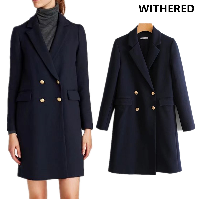 Withered 2017 winter coat women blazer feminino england style double breasted dark blue notched long blazer women coat trench
