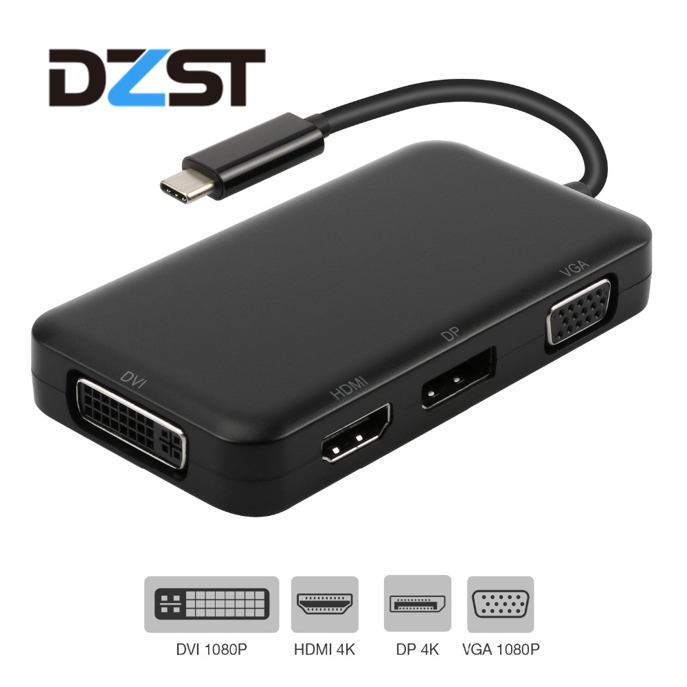 DZLST USB C Hub to HDMI DP Displayport VGA DVI 1080P Video Converter Adapter for Macbook Samsung galaxy S9+/S8 USB Hub Splitter
