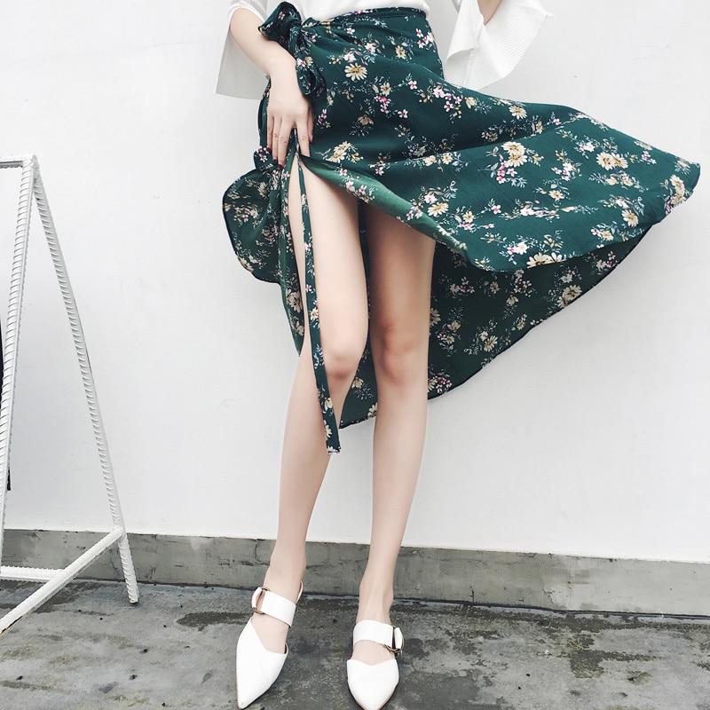 Женская асимметричная шифоновая юбка макси в богемном стиле 2