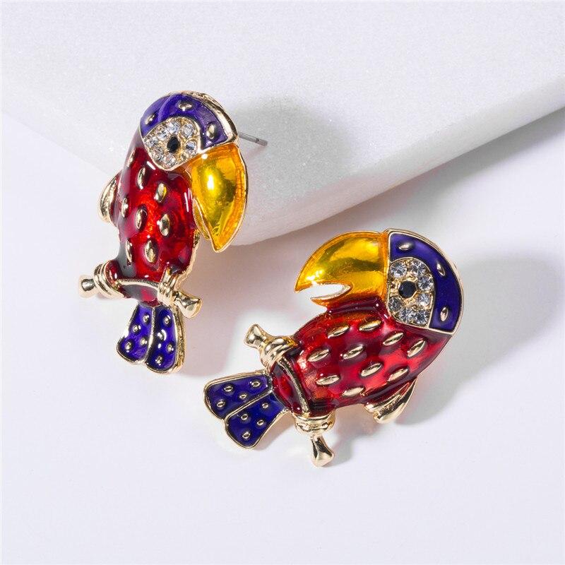 kaikuang 2019 new European fashion pop drip parrot earrings personalized cute Earings jewelry  EH10156