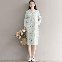 Chinesische Art Cheongsam Kleid 2017 Neue Herbst Knielangen Kleidung Frauen Langarm Grün Blumendruck Vintage Kleider