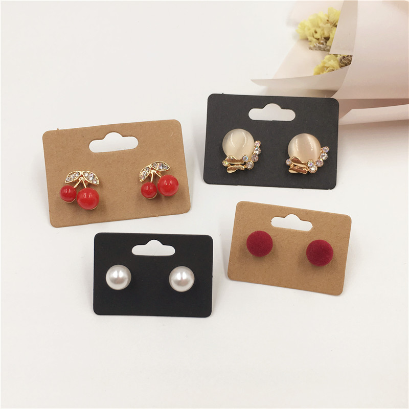 50Pcs Handmade Brown Black White Kraft Paper Cardboard Stud Earring Cards For Jewelry Accessories Displays Packing Cards 5x3.5cm