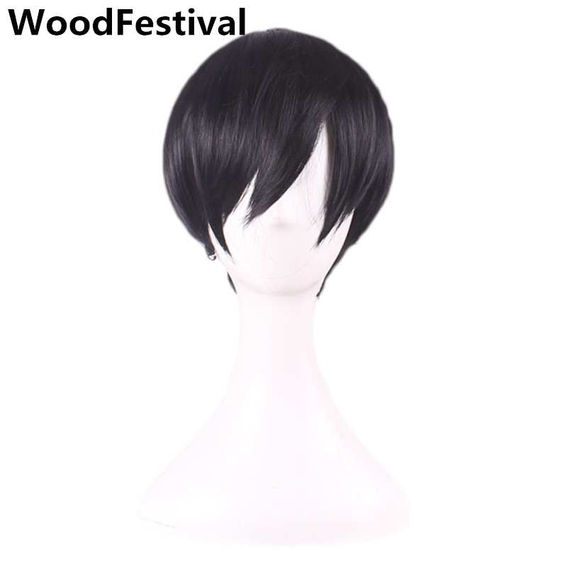 WoodFestival Handsome Male Man Synthetic Wig Short Men Brown Black Cosplay Heat Resistant Wigs