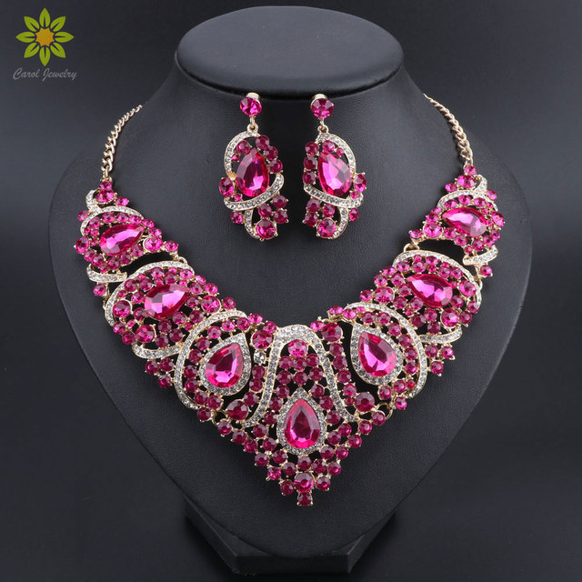 Rose Red Crystal Rhinestones Necklace Set for Women Wedding   Engagement  Accessory Fashion Bridal Jewelry sets 118f71c03d16