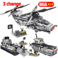 Swat Army Flood Dragon Submarine Craft Building Blocks Compatible Legoing City Police Figures Educational Toys for Children