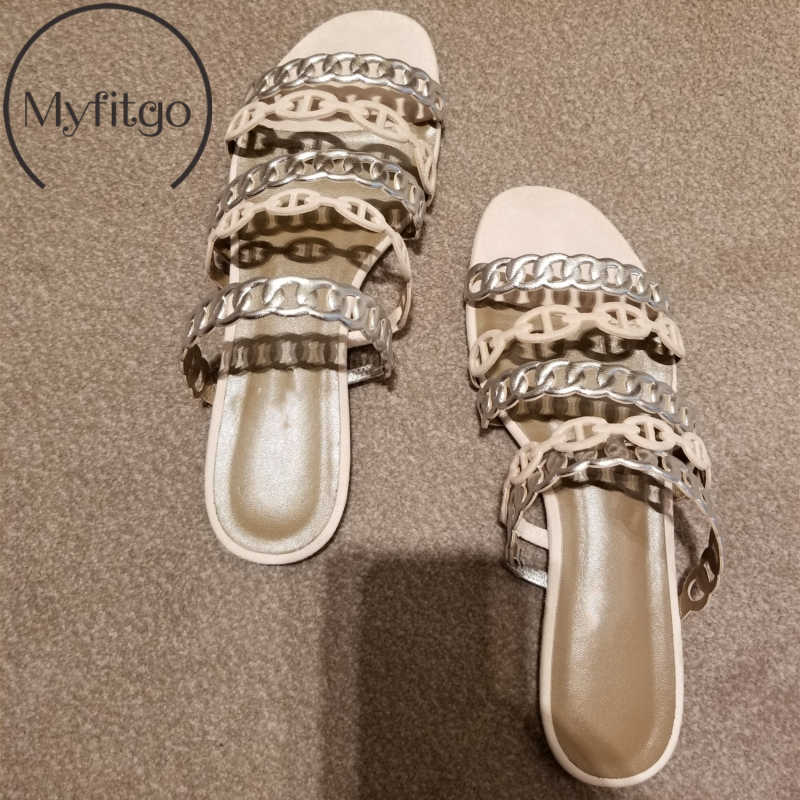 Myfitgo Summer Women Slippers Female Beach Slides on Shoes Flat Woman's Casual Slippers Chain Sandals Fashion 2019 New Slides